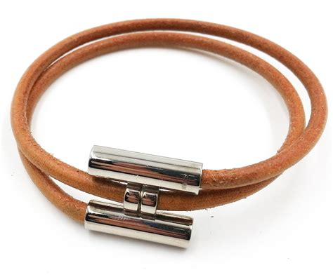 Authentic Hermes Palladium H Leather Double Bracelet - LAR
