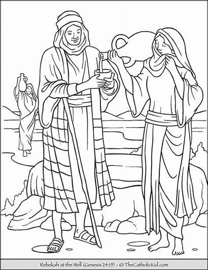 Rebekah Coloring Bible Well Thecatholickid Catholic Porres