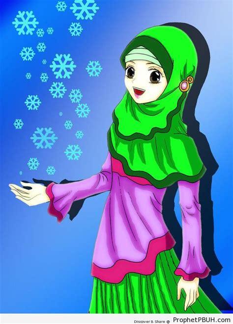 happy anime girl snowflakes drawings prophet pbuh
