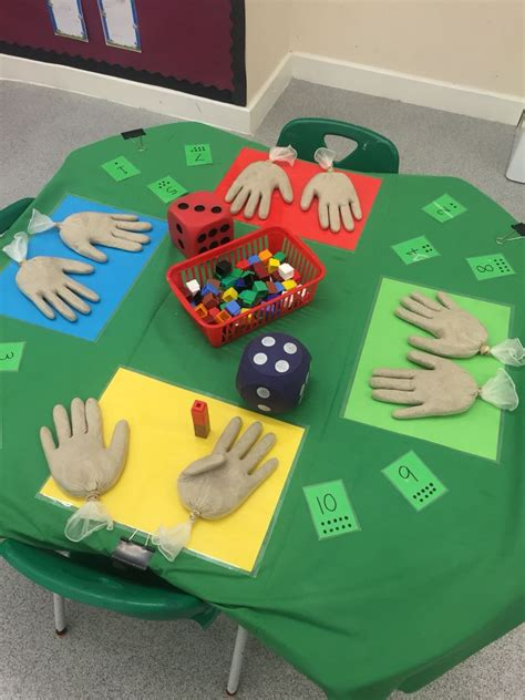 nursery maths counting gloves filled with