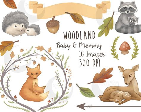 Woodland Clipart Mommy & Baby Forest Animals Cute Nature