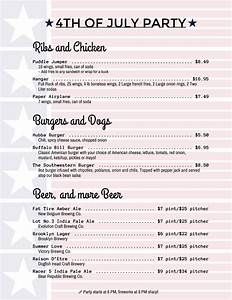 Holiday menu templates from imenupro more than just for 4th of july menu template