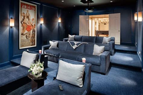 Home Design Ideas Colours by Home Theater With Blue Wall Colors And Wall Sconces