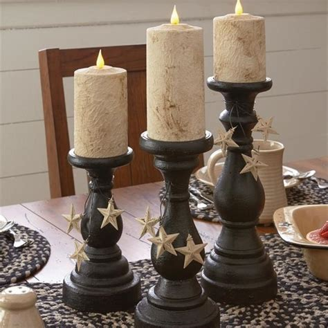blackstone pillar candle holders black set   dl country barn