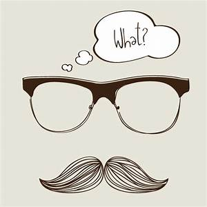 Hipster Background with Sunglasses and Mustache Vector ...