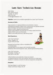 lawn care technician resume exles resume sles lawn care technician resume sle