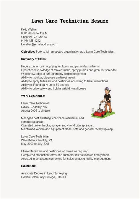 resume sles lawn care technician resume sle