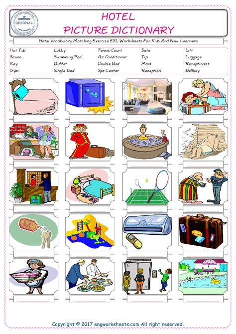 hotel esl printable picture english dictionary worksheets