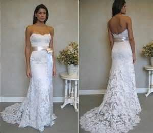 summer wedding dresses strapless lace summer wedding dress with sash sang maestro