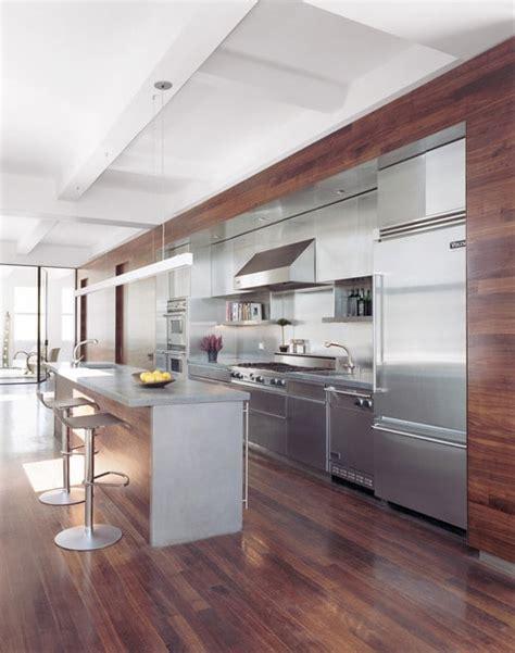 cuisine inox bois cuisine moderne bois et inox