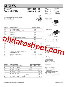 IXTH140P10T Datasheet(PDF) - IXYS Corporation
