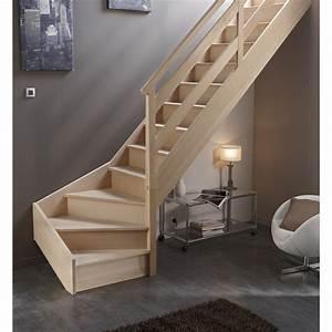 Escalier Droit Bois : escalier quart tournant bas droit soft wood structure bois ~ Premium-room.com Idées de Décoration