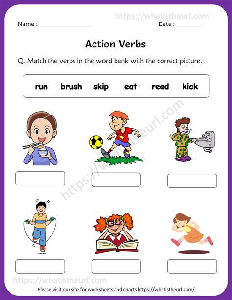 action verbs worksheets  grade   home teacher