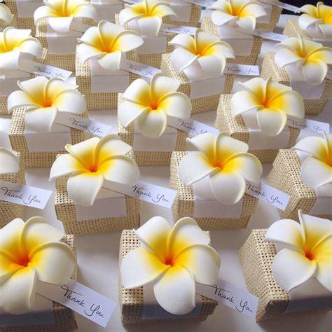 organic woven favor box  plumeria flower accent