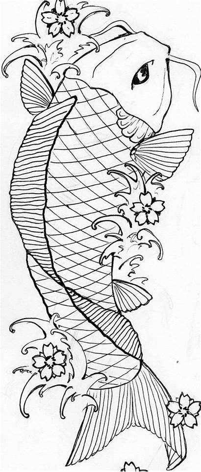 Koi Coloring Pages Fish Japanese Sketch Number