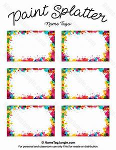 free printable paint splatter name tags the template can With free name tag templates for kids