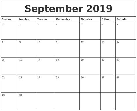 september  printable monthly calendar