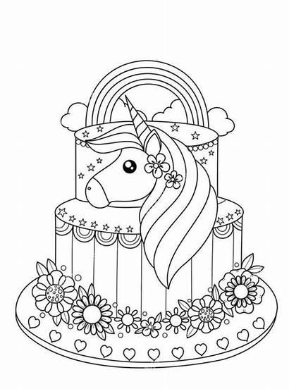 Unicorn Coloring Kleurplaat Taart Coloriage Licorne Voor