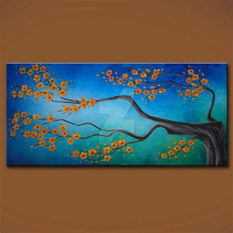 Calm Original Floral Cherry Blossom Zen Painting By