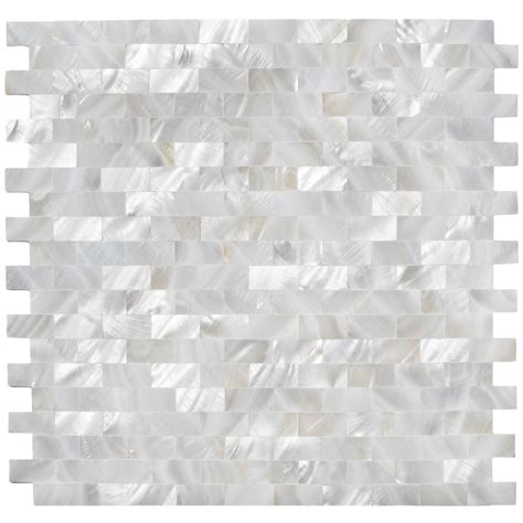 white brick groutless mother of pearl shell tile for