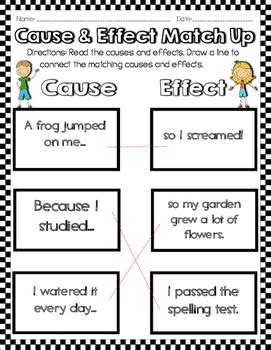 cause and effect activities worksheets by read like a
