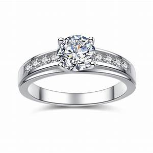 925 sterling silver cubic zirconia 093 ct round cut women for Wedding rings womens