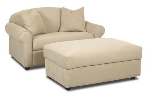 klaussner possibilities chair sleeper  storage ottoman
