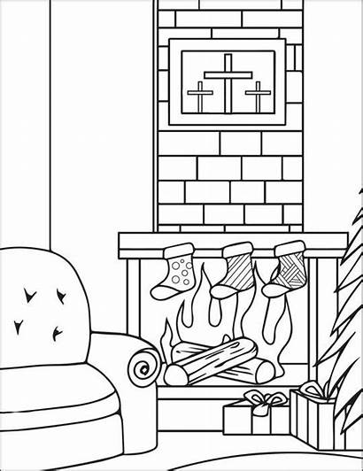 Coloring Christmas Pages Stockings Fireplace Stocking Printable