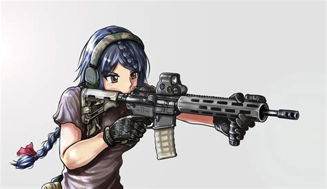 anime girls  guns wallpaper   draw