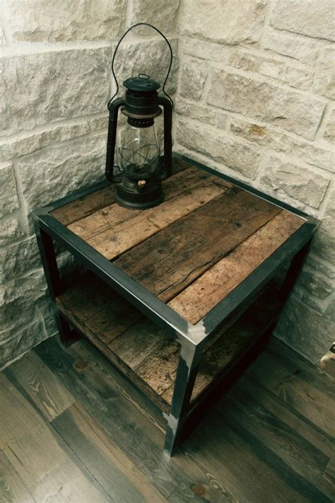 wood and metal end tables reclaimed wood table for the home wood