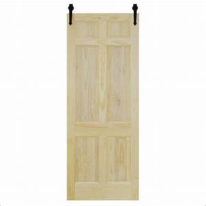 steves and sons 30 in x 96 in 6 panel unfinished pine With 6 panel sliding barn door