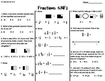 Fractions Test Free By Createabilities  Teachers Pay Teachers
