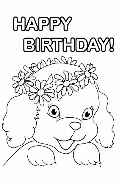 Coloring Birthday Pages Puppy Happy