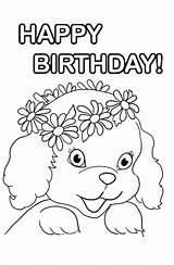Coloring Birthday Happy Puppy Printable Clipartqueen Activity Clipart sketch template