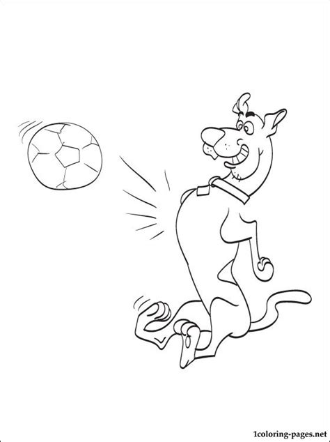 scooby doo playing soccer  drawing coloring pages