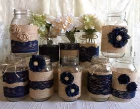 navy blue wedding decorations 10x rustic burlap and navy blue lace covered jar vases wedding decoration bridal shower