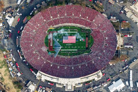 los angeles photographer captured  birds eye view   rose bowl   stealth bomber