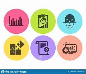Technical Documentation  Report And Bar Diagram Icons Set