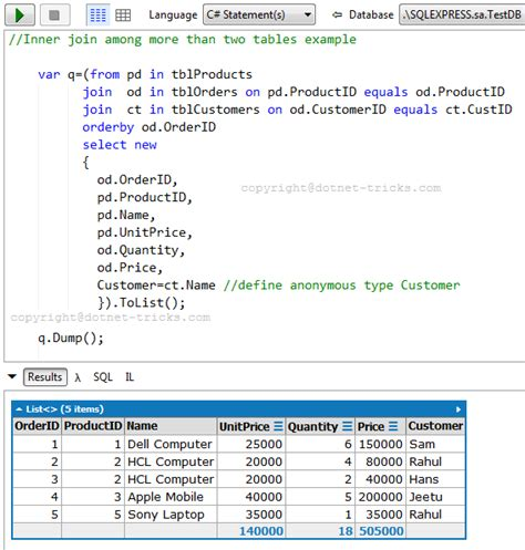 sql join 2 tables sql joins with c linq