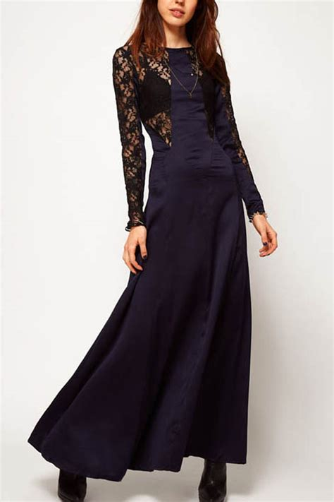 Lace Splicing Backless Long Sleeves Maxi Dress 003605