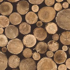 Contemporary Faux Wood Nature Brown Firewood Wallpaper ...