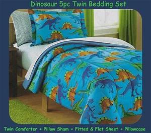 Dinosaur, Twin, 5pc, Bedding, Set, Comforter, Pillow, Sham