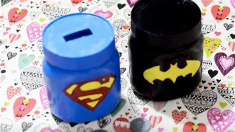 super heros mason jar piggy banks  kids