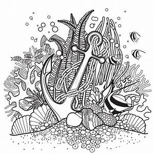 Anchor and coral reef drawn in line art style. Ocean fish ...