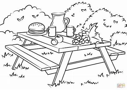 Picnic Coloring Table Clipart Pages Printable Ausmalbild