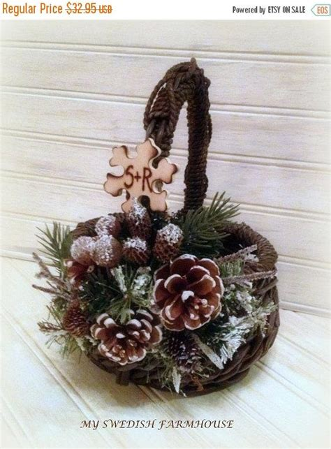 Basket Decor Ideas by 2 Day Sale Flower Basket Rustic Winter Wedding Decor