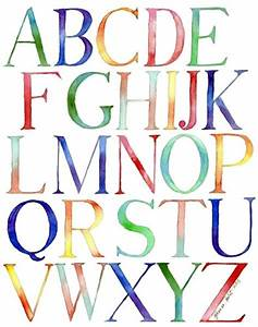 alphabet watercolor painting typography kids room 11x14 With painting alphabet letters