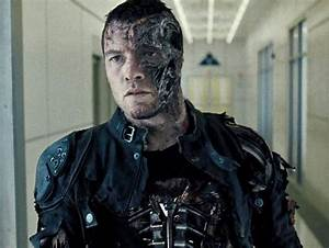 A screenshot from the movie Terminator, half human and ...