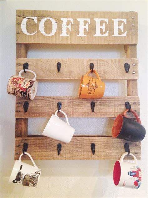 coffee mug rack diy pallet coffee cup holder one bird