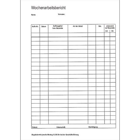 formular formularblock wochenarbeitsbericht brewes